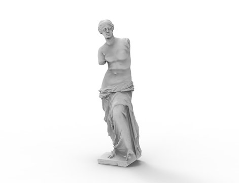3d rendering of a female historic statue isolated in white background