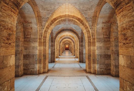 Interior of Anitkabir - Mausoleum of Ataturk, Ankara Turkey.