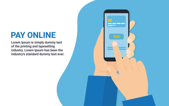 hands man with phone Pay online