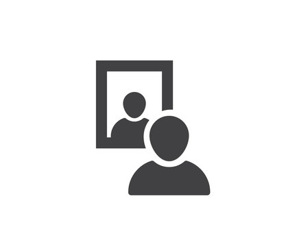 Mirror icon with human face reflection