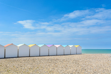 Beach cabins in Le Treport, France
