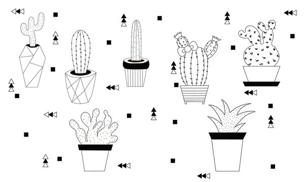 Set of black outline cactuses contour drawing isolated on a white background