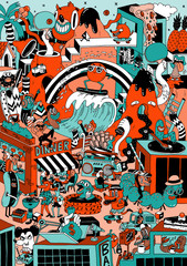 Doodle of imaginary cartoon city