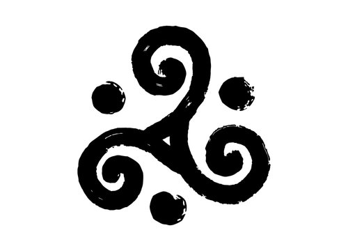 Hand drawn painted vector celtic triskel in grunge style isolated on white background
