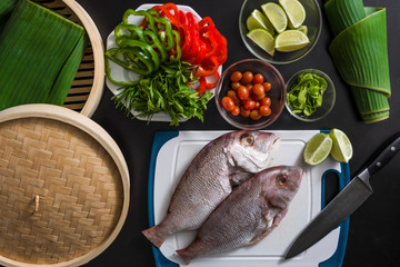 Fresh Red Snapper fish with vegetables