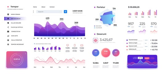 Infographic dashboard template. Admin panel ui, diagrams graphs and progress bars data statistics workflow. Vector modern screen interactive holographic charts