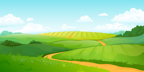 Summer fields landscape. Cartoon countryside valley with green hills blue sky and curly clouds. Vector rural nature horizon pasture view Fotoväggar