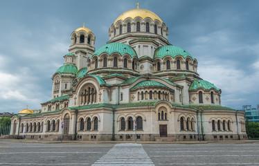 Fotobehang Monument Exterior of St. Alexander Nevsky Cathedral, 1882-1912, neo-byzantine style, Bulgarian Orthodox, Sofia, Bulgaria.