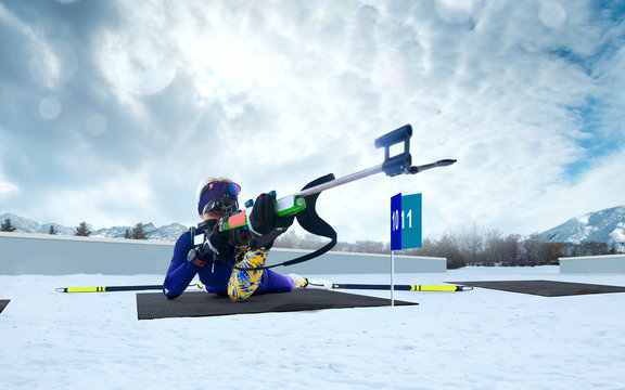 Biathlon. Skier biathlon champion. Winter Olympic sports.