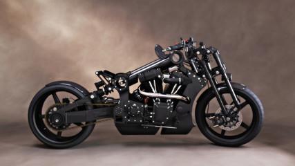 Custom unique black motorcycle with studio backdrop background. 3d rendering