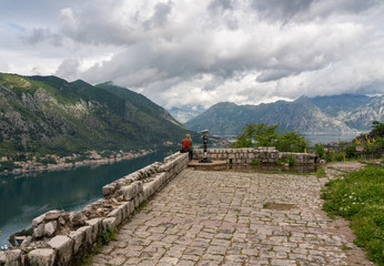 Viewpoint above old port of Kotor from hike to Fortress