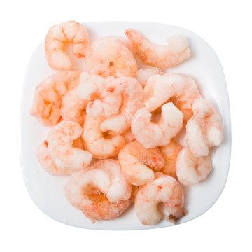 Plate of frozen shrimp