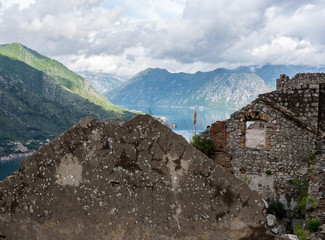 Stone walls of Kotor Fortress above the old town in Montenegro
