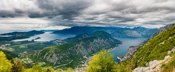 Panoramic view of Bay of Kotor from Serpentine road with hairpin bends