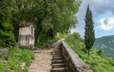 Steep pathway by Stations of the Cross above old town Kotor in Montenegro