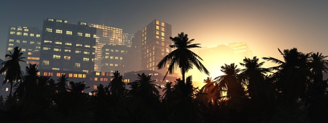 Wall Mural - Palms and skyscrapers in the evening, modern city with palm trees in the evening, 3d rendering