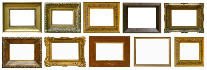 gold antique picture frame isolated on white background