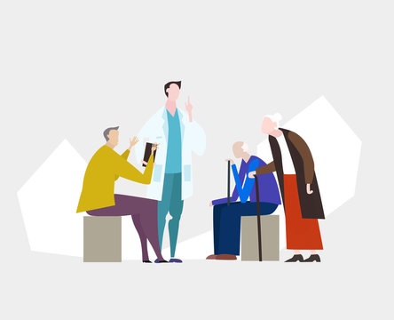 Doctors and nurses talking to the elderly patients in the hospital. Medical and health concept Illustration