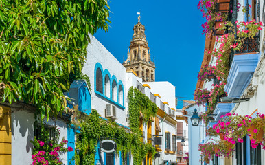 Scenic sight in the picturesque Cordoba jewish quarter with the bell tower of the Mosque Cathedral. Andalusia, Spain. Fotomurales