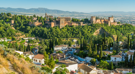 Panoramic sight of the Alhambra Palace and the Albaicin district in Granada. Andalusia, Spain. Wall mural