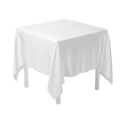 Realistic square table with white folded tablecloth. Vector template.