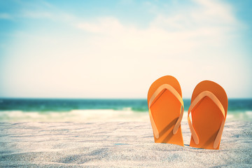 Poster Beach Orange flip flops on beach