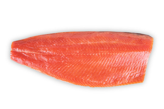red fish fillet on white background