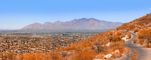 "View of Tucson AZ in various directions from atop of ""A"" Mountain Sentinel Peak Park"