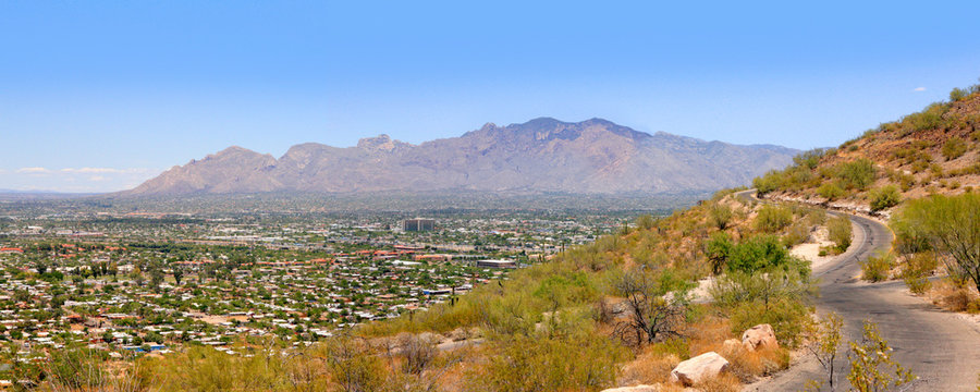 """View of Tucson AZ in various directions from atop of """"A"""" Mountain Sentinel Peak Park"""