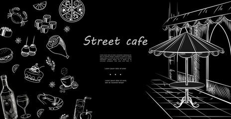 Hand Drawn Street Cafe Menu Template