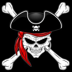 Pirate Skull with Crossed Bones and Red Bandana Vector illustration on Black Background