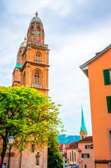 Fototapete - Beautiful Grossmunster church in city center of Zurich, Switzerland