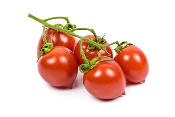 Bunch of cherry tomatoes on white background