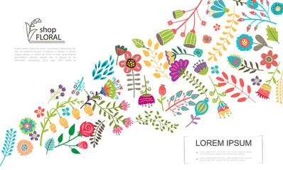 Wall Mural - Flat Colorful Floral Template