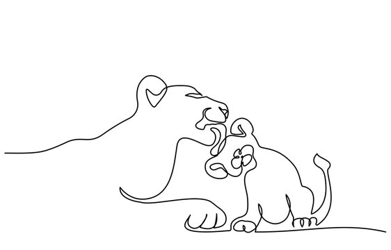 Young lioness with lion cub one line drawing