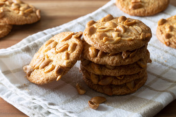 A stack of homemade peanut biscuits.