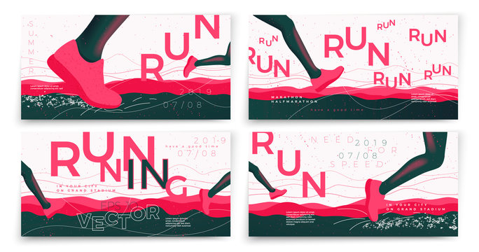 Vector typographic running banners template set, with legs, grunge textures, and place for your texts.