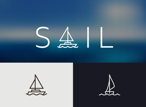 Sailing Icon, simple Monoline concept