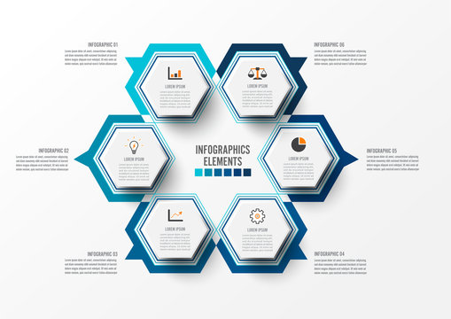 Vector illustration infographics 6 options. Template for brochure, business, web design