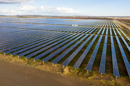 A huge solar farm between Toowoomba and Dalby in central Queensland, Australia.