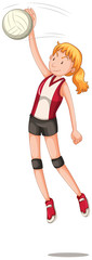 A female volleyball character