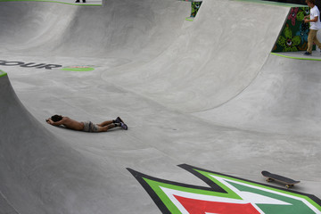 Heimana Reynolds of the United States skates during the men's park finals of the Dew Tour Skateboarding Championships in Long Beach