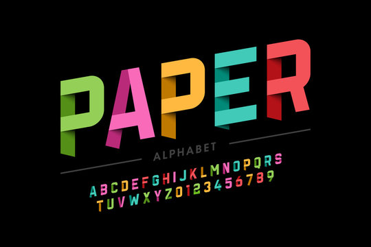 Origami style font design, paper folding alphabet letters and numbers