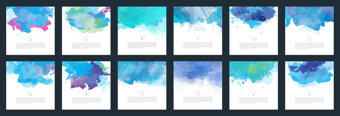 Blue vector watercolor background template set for brochure, poster or flyer