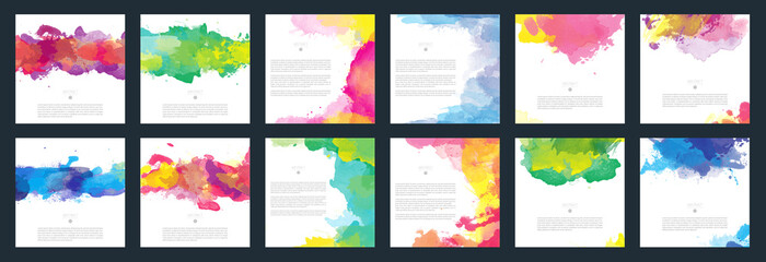 Fotobehang - Colorful vector watercolor background template set for brochure, poster or flyer