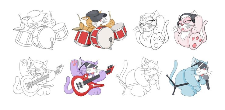 Musical cartoon animal. Childish cat band. Coloring book page for kids set