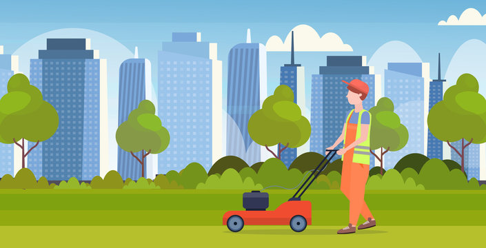 man gardener in uniform cutting grass with lawn mower gardening concept modern cityscape background flat full length horizontal