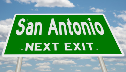 Rendering of a green highway sign for San Antonio Wall mural