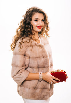 Perfect for winter cold. Pretty woman in fashionable fur coat. Fashion model wear luxurious fur. Young woman wear elegant winter coat. Winter fashion trends. She is feminine in spirit