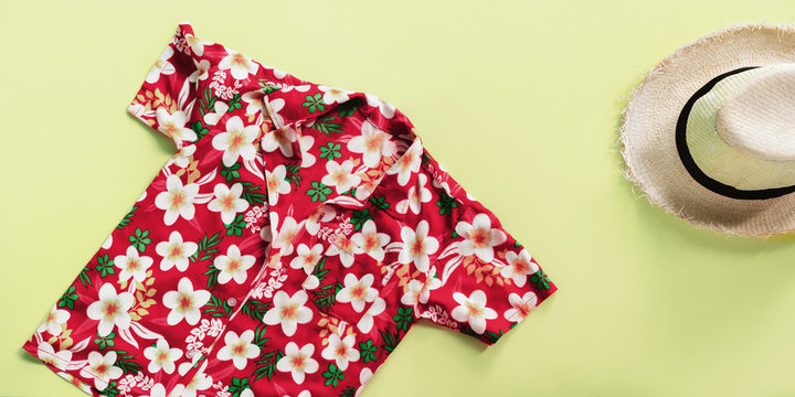 summer straw man's hat songkran floral skirt